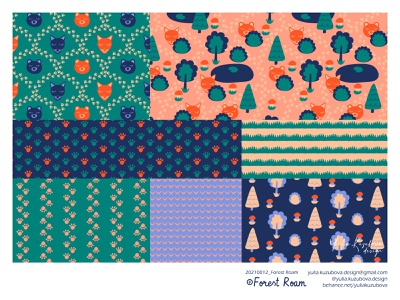 Forest Roam Kids´ Bedding Textiles Collection bedroom fabric textile surface animal forest adobe illustrator vector collection print bedding children kid illustration print on demand pattern licensing minimalist design pattern pattern design