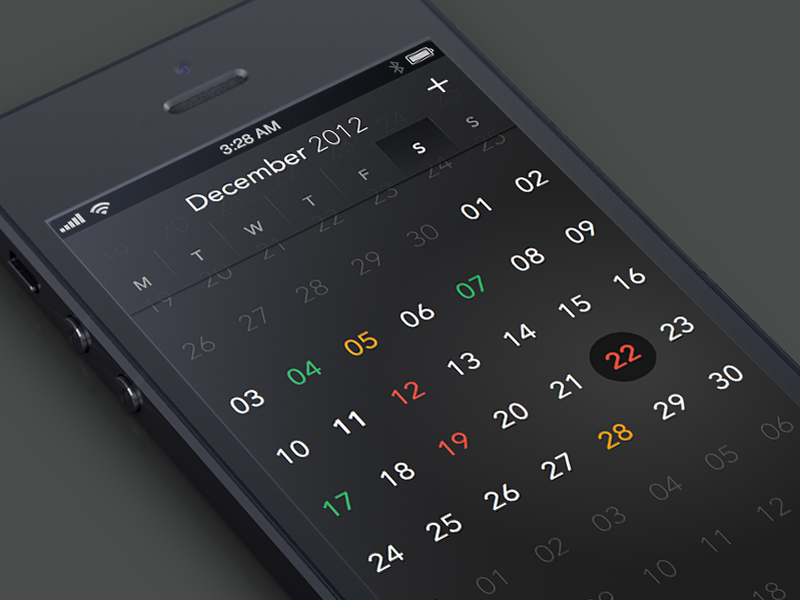 CalendarApp calendar iphone app month months week weeks day days black gradient transperent highlight flat