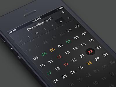 CalendarApp calendar iphone app month months week weeks day days black gradient transperent highlight flat