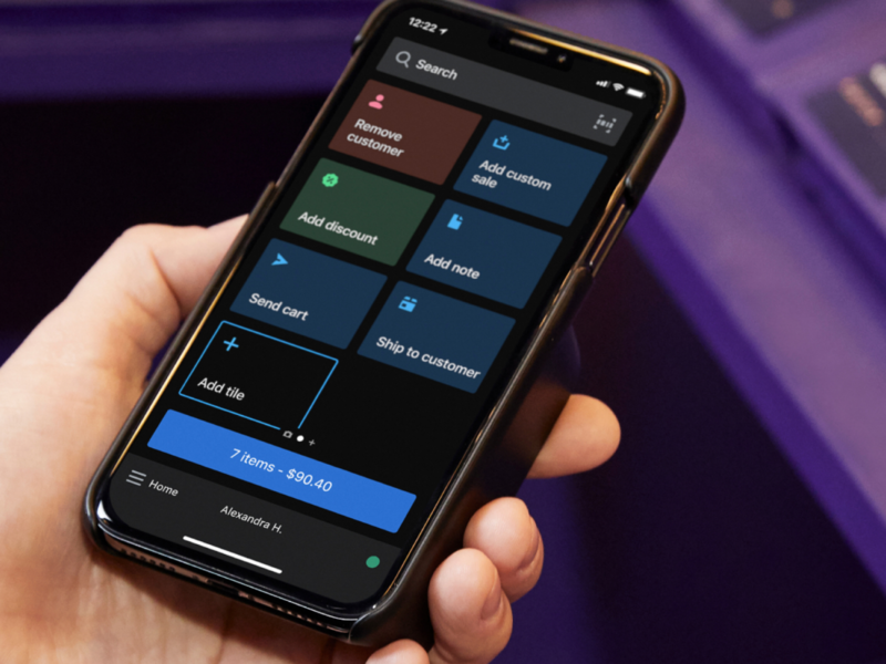 Shopify POS - Mobile tiles grid smart grid pointofsale iphone darkmode app