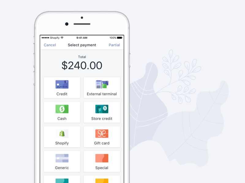 Shopify POS - Payment Selection white ux ui redesign purple iphone ios illustration icons empty state app android