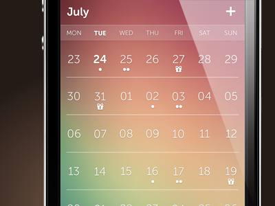 capp - the most beautiful iPhone calendar app calendar iphone app application weather gradient day week date birthday flat ios7