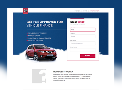 Credit Nissan Landing Page landing page form conversion page landing