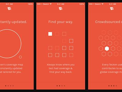 Tecken onboarding screens karla app ios orange red illustration iconography minimal oboarding
