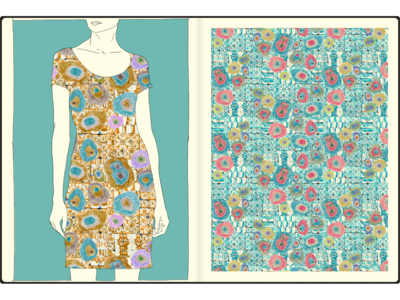 tiles and dots allover textile watercolor pattern design pattern art fashion print illustration