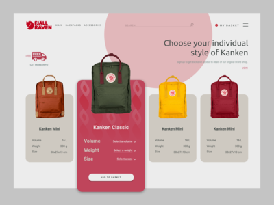 Kanken backpacks / Shop website branding ux ui product design web design ui  ux