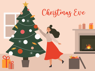Christmas Eve Illustration new year character 2021 christmas eve new year eve christmas illustration girl illustration christmas tree christmas vector illustration