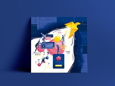 The challenge of transformation - Postcard illustration design origami crane postcard illustration graphic design design
