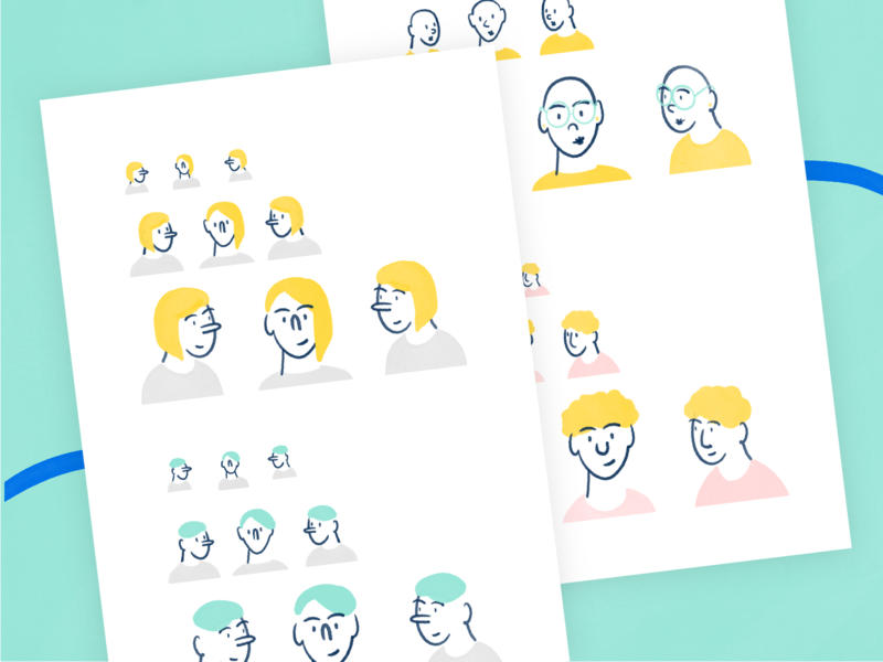 Illustrated characters - Wolox visual identity sketch rebranding rebrand illustration graphic design draw design characters character design character branding brand illustration art