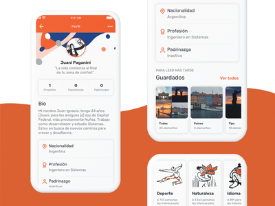 Profile - Wonderlust traveling travel app travel interface user interface user experience mobile branding ui ux graphic design design