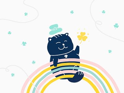 Happy St Patrick's Day! ☘️ cute kitten kitty clover rainbow leprechaun graphic design irish cat saint patricks day saint patrick st patrick illustration design