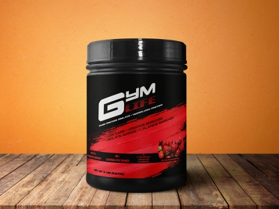 GymLife Jar Packaging gym packaging design package design design logo illustration