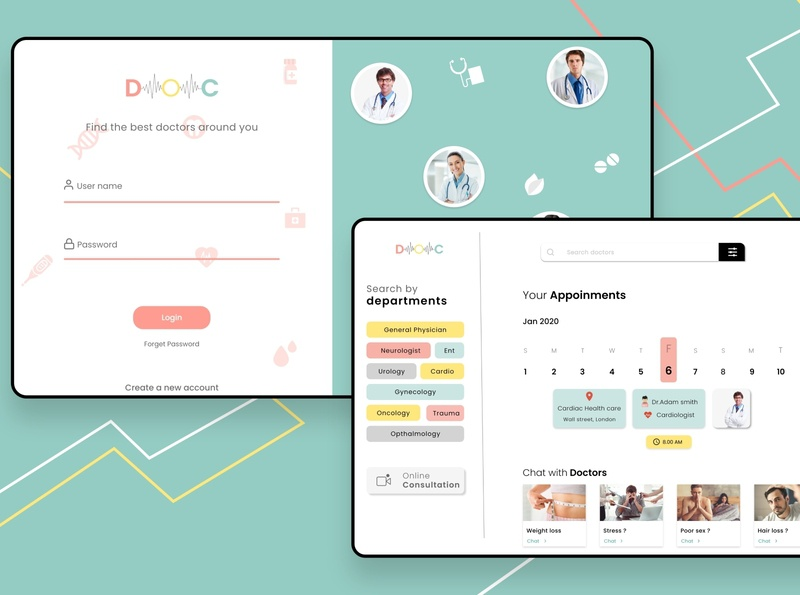 Online doctor booking site. doctor app doctor appointment booking website concept web concept website design website product design product prototype design chennai designer wireframes user interface design user experience animation ux  ui adobexd uxuidesign uidesign
