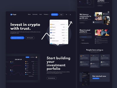 Crypto - Cryptocurrency investment landing page. finance crypto landingpage webpage fintech investment cryptocurrency dark mode dark design india chennai chennai designer user experience user interface design adobexd mockup uidesign uxuidesign