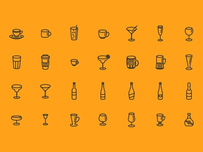 Glasses Bottles & Cups - Free Icon Set coffee beer wine drink party outline cup bottle glass icon set free icon