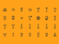 Glasses Bottles & Cups - Free Icon Set