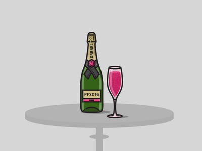 Happy New Year 2016 community designers dribbble party champagne new year illustration icon