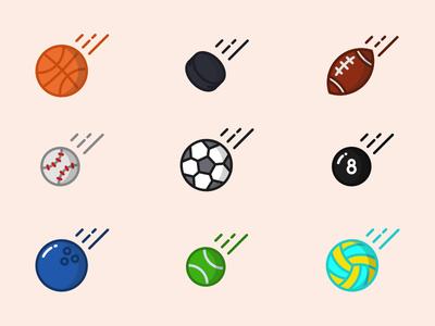 Sporty Balls - free icon set illustration icon volleyball tennis fotball baseball socer hockey basketball balls sport