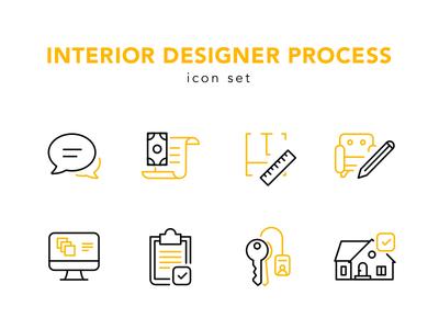 Interior design process icon set design designer interior design process icon set icons icon