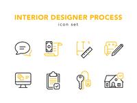 Interior design process icon set