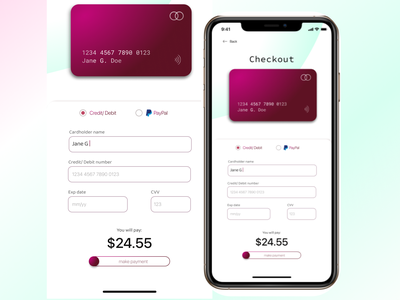 Light and airy mobile checkout design mobile design blue pink uxui checkout page dailyui