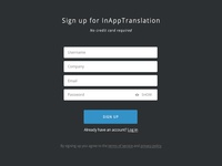 InAppTranslation Sign Up Form