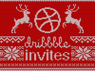 2 XMas Invites Giveaway deers pattern sweater jumper winter xmas christmas giveaway invitation invites invite dribbble