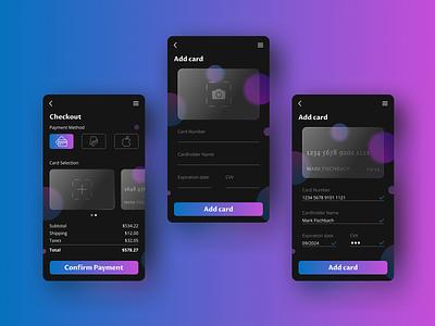 Daily UI 002: Credit Card Checkout dailyuichallenge checkout creditcard glassmorphism dailyui ux app ui design