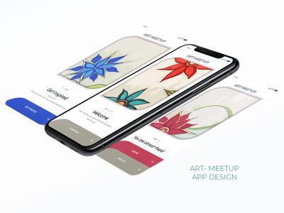 Art Meet Up- App Design & Illustration web illustrator art minimal app typography ux ui design illustration