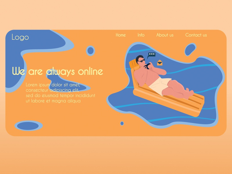 Always online services vacation man template communication work online site product design
