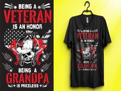 Being a veteran is an honor being a grandpa is priceless illustration print design tshirtdesign graphicdesign veteran grandpa veteran daughter veteran dad veteran t-shirt veterans day veteran