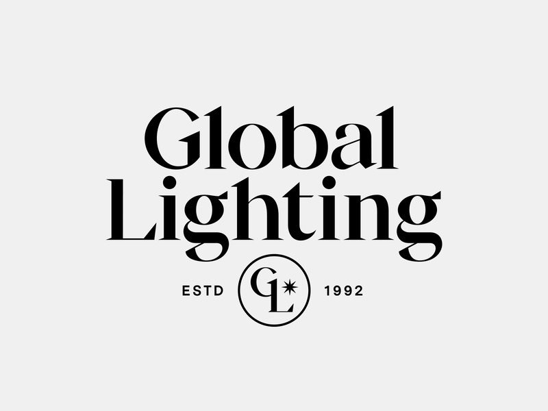 Global Lighting modern lettering serif burst crest monogram badge typogaphy type lockup light lighting logo design logo