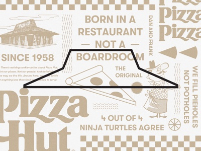 Pizza Hut branding pizzeria fastfood pizza logo packaging restaurant pattern food illustration typography type pizza