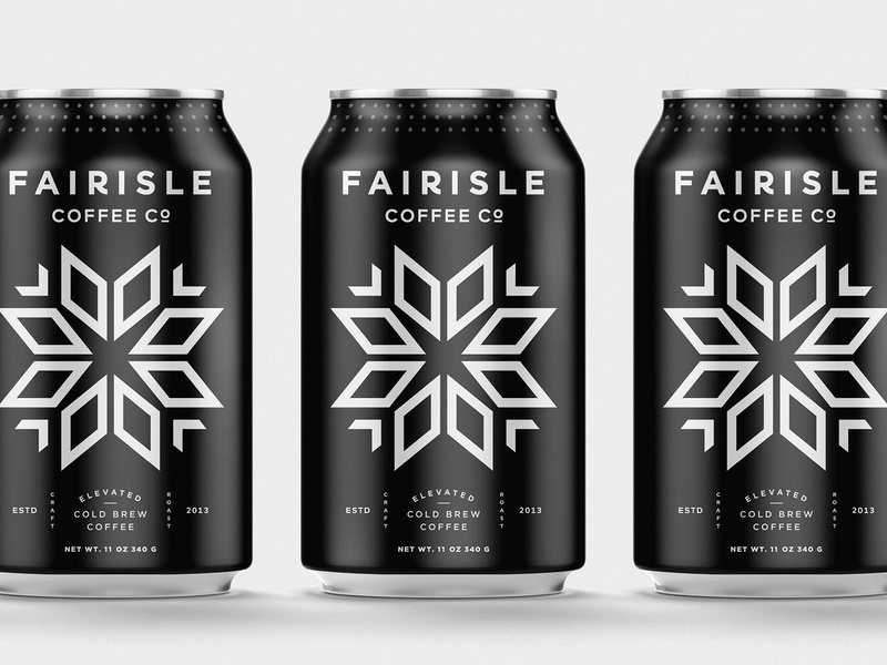 Fairisle Coffee Co - Cold Brew pattern geometric illustration branding snowflake colorado modern symbol lockup typogaphy logo beverage food drink cold brew coffee packaging can coldbrew