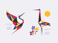 Crane Days 2020 modern plants sun midwest geometric animal bird crane illustration