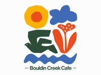 Bouldin Creek Cafe poster nature flower birds cafe bird restaurant austin texas austin illustration branding typography logo