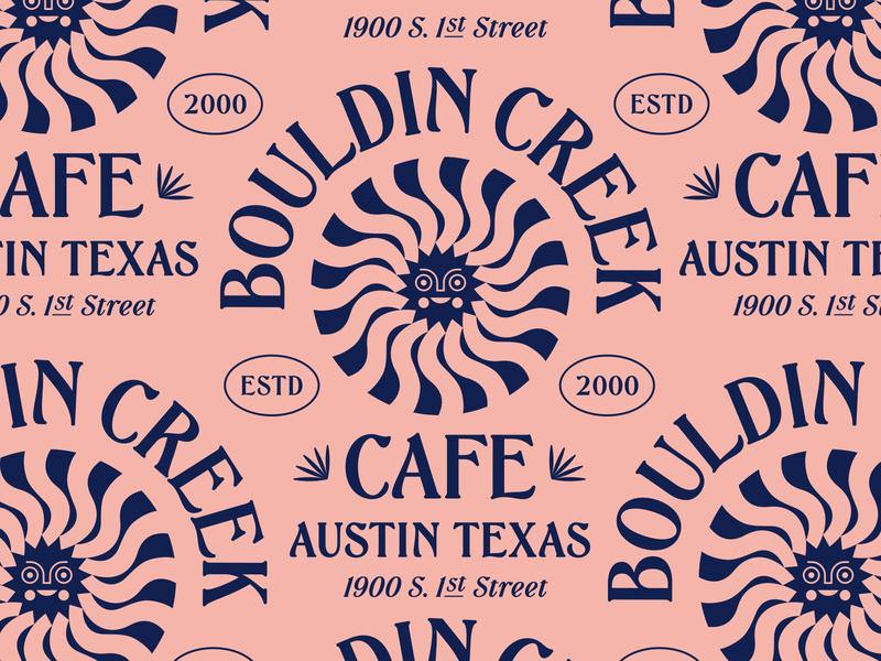 Bouldin Creek Cafe badge sun eating tshirt lettering type restaurant cafe texas austin lockup modern illustration branding typography logo