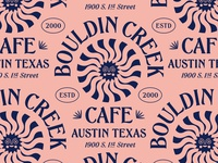 Bouldin Creek Cafe badge sun eating tshirt lettering type restaurant cafe texas austin lockup modern illustration branding typography logo