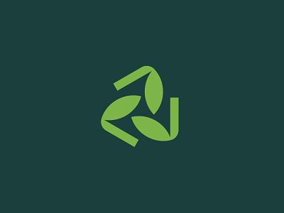 Recycle modern plant nature leaf illustration branding typography logo
