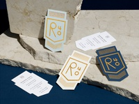 R40 badge identity restaurant new york stationery business card pattern modern illustration branding typography logo