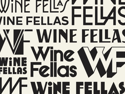Wine Fellas beverage monogram lettering art deco wine illustration branding typography logo