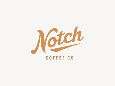 Notch Coffee Co. script lettering logotype lockup beverage drink coffee company coffee script illustration branding typography logo