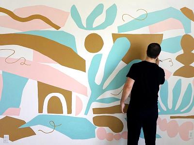 Mural geometric pattern mural design painting interior art leaf modern shapes muralart wall art organic paint mural illustration