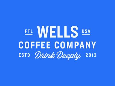 Wells Coffee lockup drink script identity florida coffee illustration branding typography logo