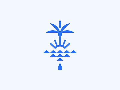 Wells Coffee design lockup badge modern palm palm tree water sun beach florida illustration branding typography logo