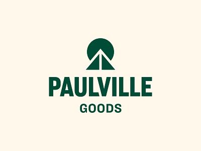 Paulville Goods mountain apparel austin clothing lockup modern illustration branding typography logo