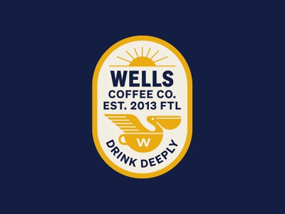 Wells Coffee florida coffee branding coffee bird pelican hat patch lockup badge modern illustration branding typography logo