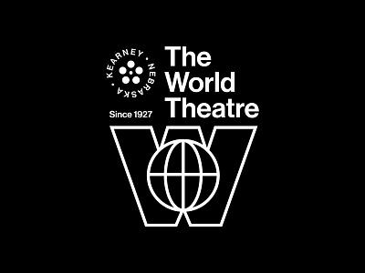 The World Theatre vintage movies theater lockup badge modern illustration branding typography logo