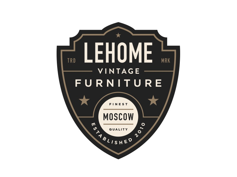 Lehome Vintage Furniture shield logo vintage badge crest line branding moscow lockup typography layout gold