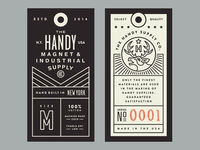 Handy Supply Co. Tags illustration apparel elk stamp typography layout logo tags clothing lockup shirt branding
